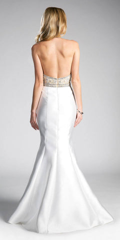 Off White Mermaid Prom Gown Halter V-Neck Open Back
