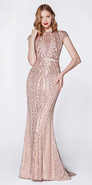 Cinderella Divine J768 Fitted Geometric Glitter Gown Rose Gold Cap Sleeves Closed Back