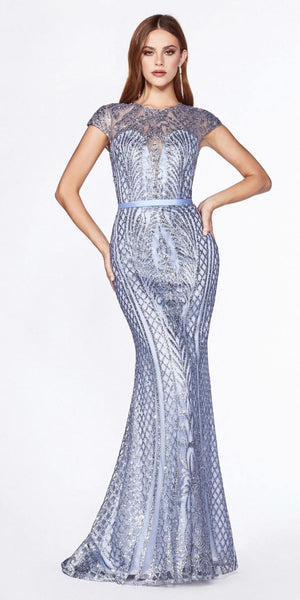 Cinderella Divine J768 Fitted Geometric Glitter Gown Smokey Blue Cap Sleeves Closed Back