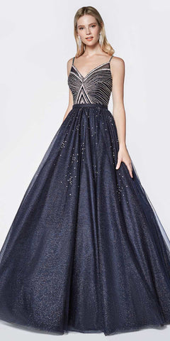 Cinderella Divine J770 Floor Length Glittered Ball Gown Navy Blue Beaded Bodice Detail