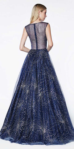 Cinderella Divine J771 Floor Length Glitter Tulle Ball Gown Navy Blue Cap Sleeve High Illusion Neckline