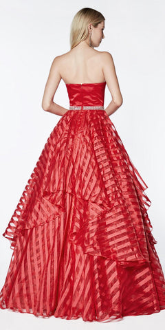 Cinderella Divine J774 Long Strapless Ball Gown Red Satin Bodice Striped Organza Layered Skirt