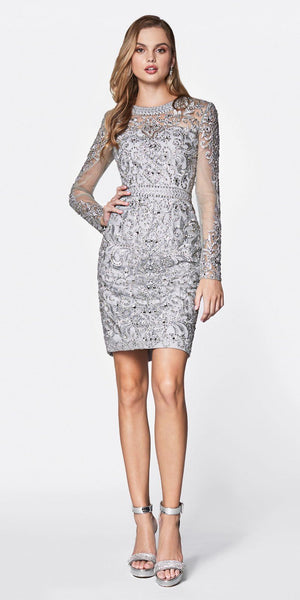 Cinderella Divine 776 Short Cocktail Gown Silver Beaded Details Long Illusions Sleeves