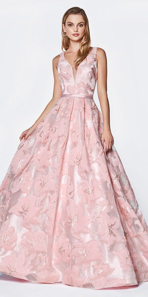 Cinderella Divine J777 Floor Length Floral Ball Gown Blush Deep V-Neckline Pleated Skirt