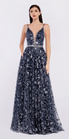 Off The Shoulder Long Ball Gown Navy Blue Beaded Belt Glittered Lace Bodice