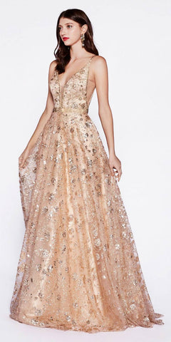 Glitter Embellished Long Prom Dress Rose Gold with Pockets
