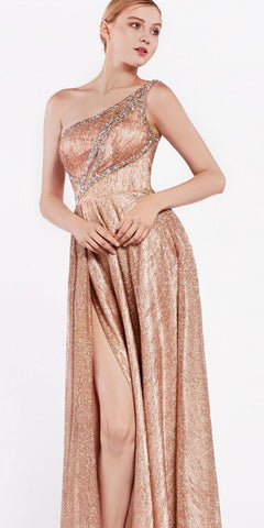 One-Shoulder Long Prom Dress with Slit Rose Gold