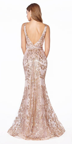 Mermaid Glitter-Print Long Prom Dress Rose Gold