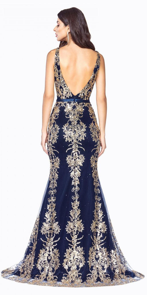 Glitter-Embellished Long Prom Dress Navy Blue/Gold