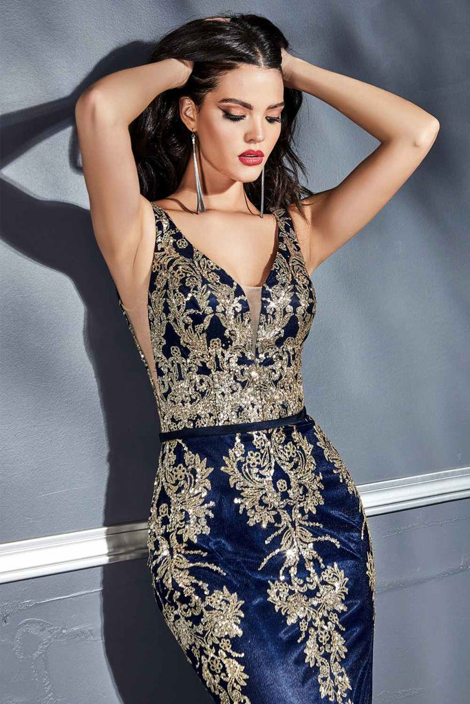 Cinderella Divine J786 Long Fitted Glitter Print Gown Navy Blue/Gold Deep Plunging Neckline Open Back