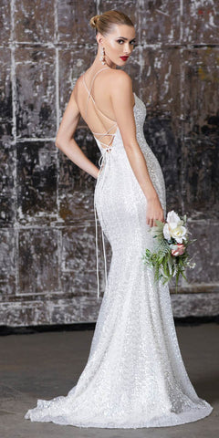 Cinderella Divine J787 Long Fitted Iridescent Sequin Gown Off White Lace Up Back Deep Sweetheart Neckline