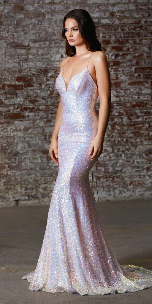 Cinderella Divine J787 Long Fitted Iridescent Sequin Gown Opal Blush Lace Up Back Deep Sweetheart Neckline