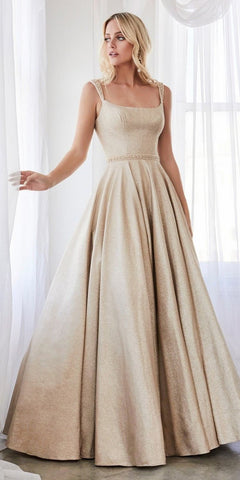 Cinderella Divine J794 Floor Length A-Line Ball Gown Champagne Gold Glitter Finish Beaded Belt