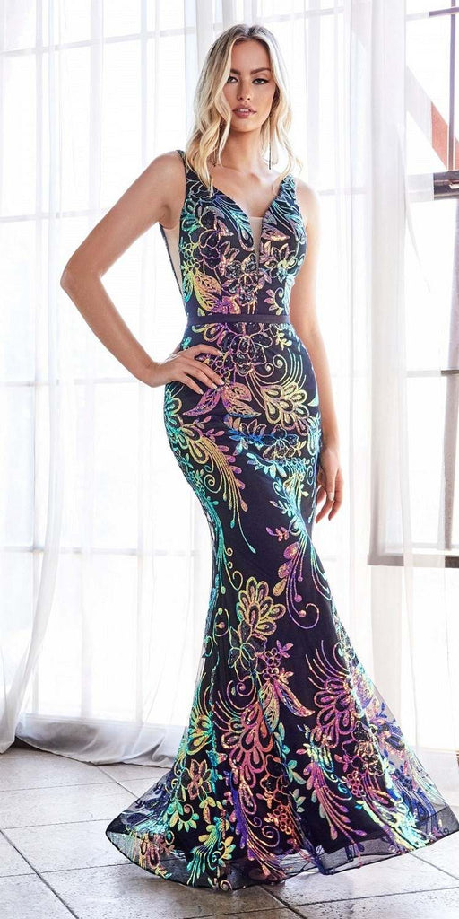 Cinderella Divine J795 Long Fitted Sheath Dress Iridescent Sequin Print Illusion Sides