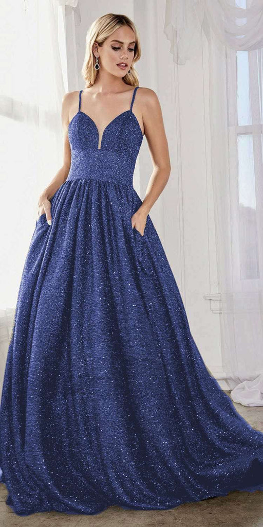 Cinderella Divine J796 Long Royal Blue A-Line Ball Gown Pockets Glitter Finish Lace Up Corset Back