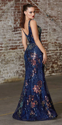 Cinderella Divine J797 Long Fitted Iridescent Gown Navy Blue Sequin Print Deep V-Neckline Side Cutout