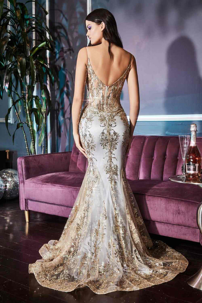 Cinderella Divine J810 Long Fitted Gold Mist Mermaid Gown Metallic Embroidered Lace