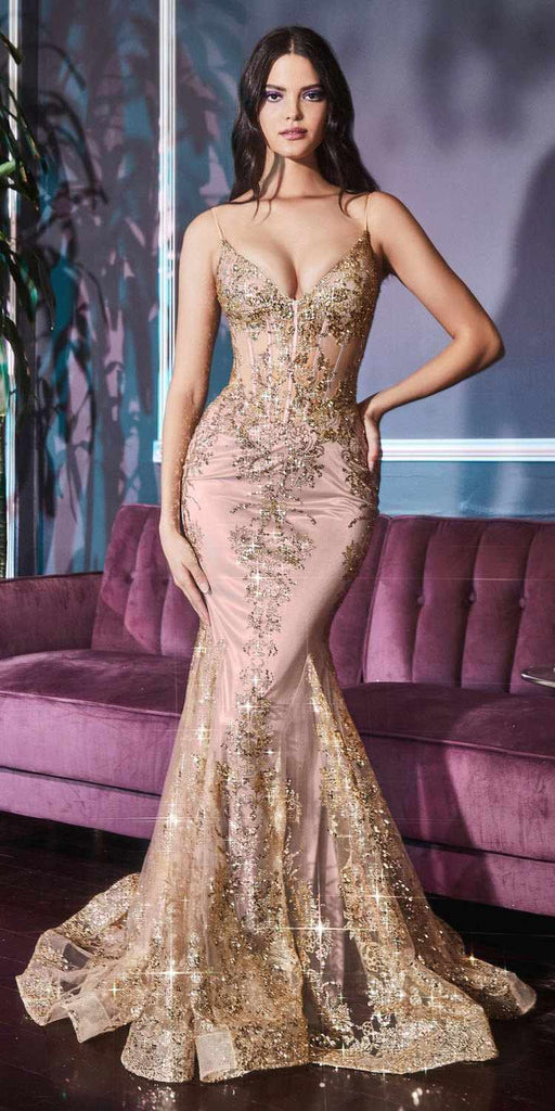 Cinderella Divine J810 Long Fitted Rose Gold Mermaid Gown Metallic Embroidered Lace