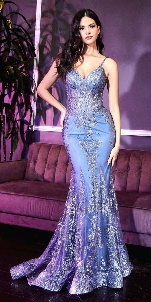 Cinderella Divine J810 Long Fitted Smokey Blue Mermaid Gown Metallic Embroidered Lace