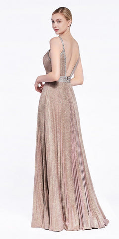 Metallic Blush Open-Back Pleated Long Prom Dress