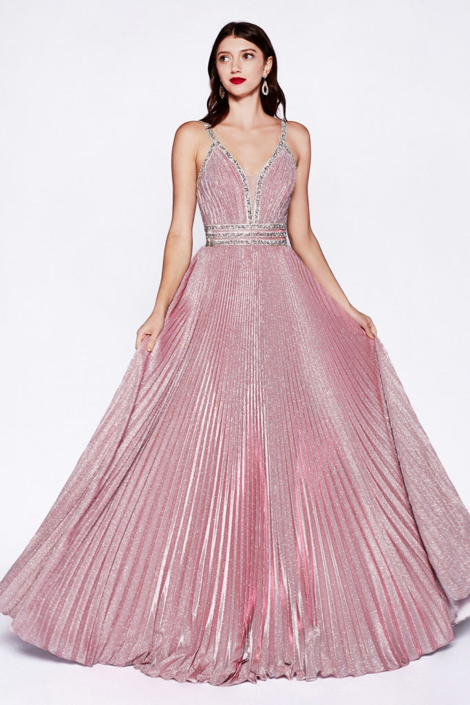 Cinderella Divine J8589 Metallic Blush Open-Back Pleated Long Prom Dress