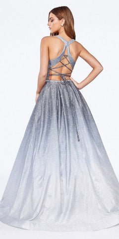 Cinderella Divine J8737 Floor Length Poofy Ball Gown Silver Halter Neckline Ombre Glitter Finish