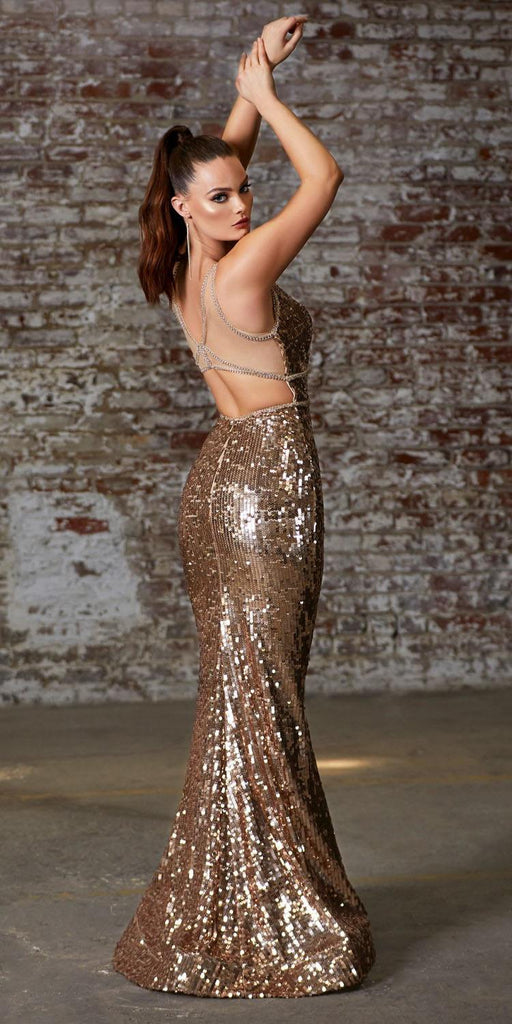 Cinderella Divine J8781 Long V-Neck Fitted Sequin Dress Gold Beaded Belts Open Back