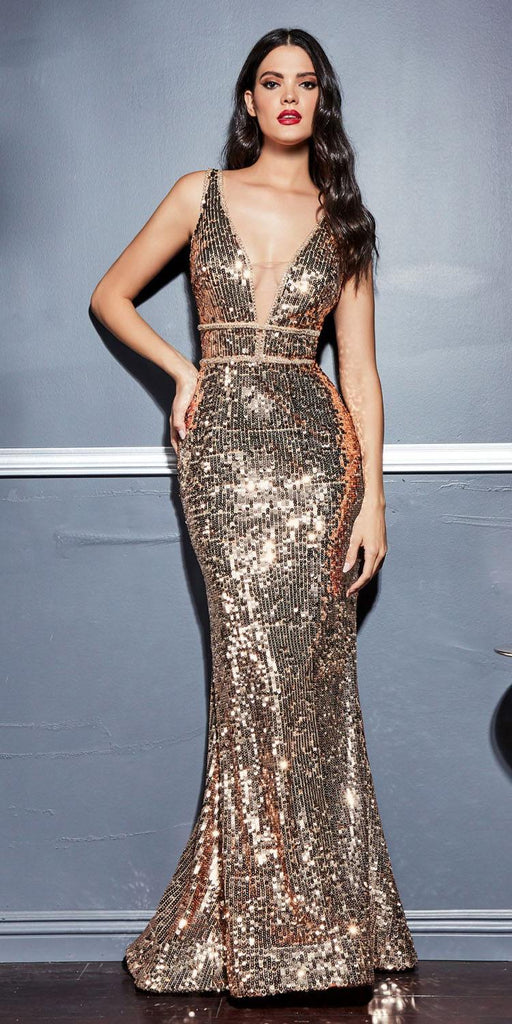 Long Sexy Formal Gown Gold Sequins V-Neckline Fitted Sleeveless