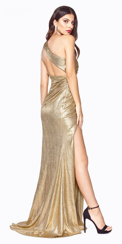 Gold One-Shoulder Long Prom Dress Cut-Out Back