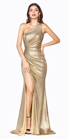 Black/Gold V-Neck and Back Beaded Prom Ball Gown