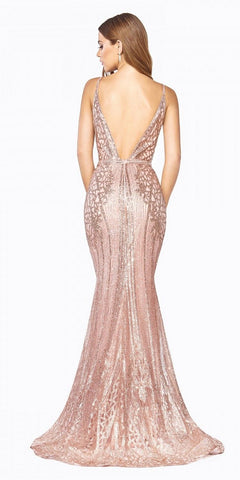 Cinderella Divine J8795 Floor Length Fitted Dress Rose Gold Art Deco Glitter Print Open V-Back