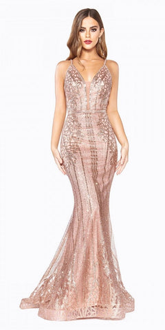Mauve Ball Gown A-line Layered Lace Applique V-Neckline Spaghetti Strap