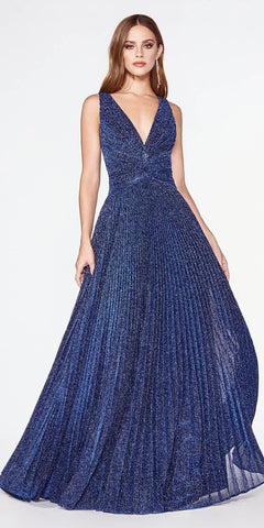 Navy Blue Pleated Long Prom Dress V-Neck and Back