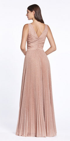 Rose Gold Pleated Long Prom Dress V-Neck and Back