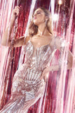 Cinderella Divine J9099 Long Fitted Sequin Gown Gold Art Deco Sequin Print Open Back