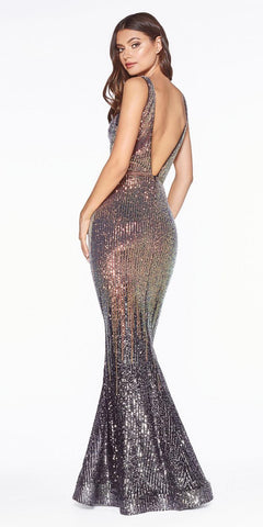 Gunmetal Mermaid Long Prom Dress V-Neck and Back