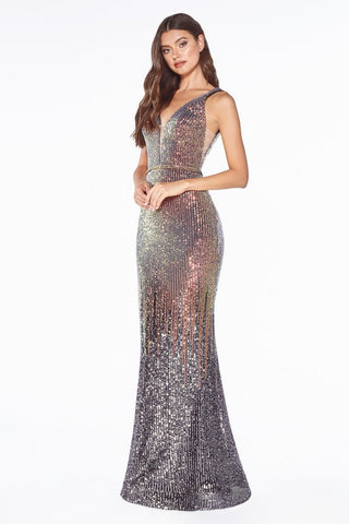 Deep V-Back Sequins Mermaid Long Prom Dress Blue Black