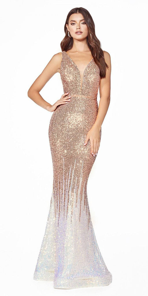 Opal Gold Mermaid Long Prom Dress V-Neck and Back