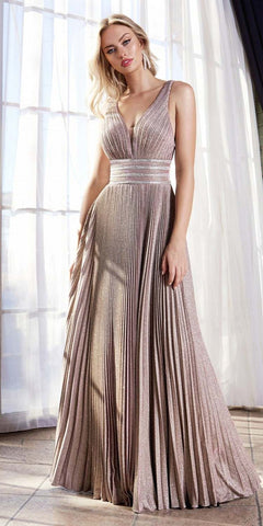 Cinderella Divine J9459 Floor Length A-Line Pleated Dress Rosewood Beaded Belts Gathered Bodice