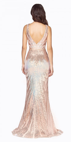 Cinderella Divine J9582 Long Slim Fit Iridescent Gown Opal Gold Ombre Sequin Pattern Deep V-Neckline
