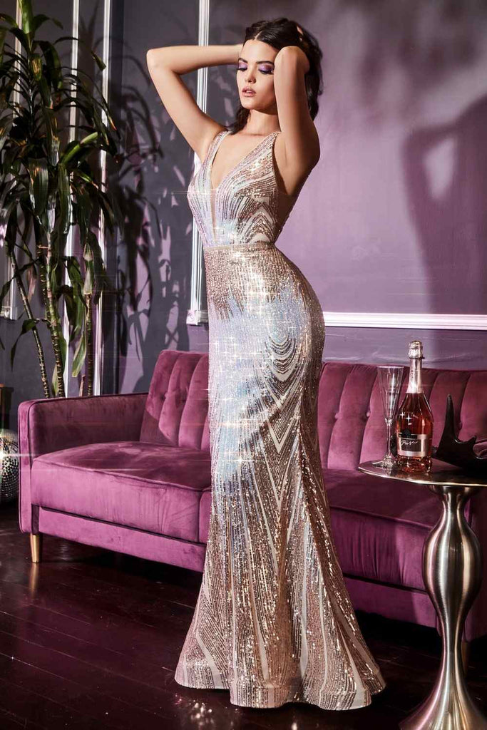 Cinderella Divine J9582 Long Slim Fit Iridescent Gown Opal Gold Ombre Sequin Pattern Deep V-Neckline Gallery