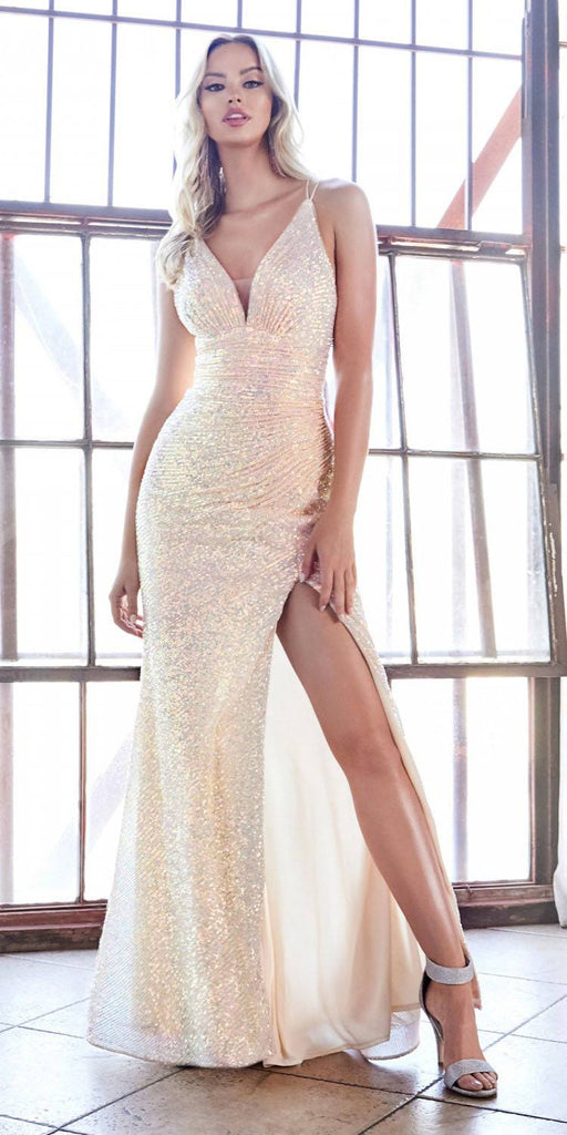 Cinderella Divine J9585 Long Sheath Fitted Opal Sequin Gown Gathered Waist And Leg Slit