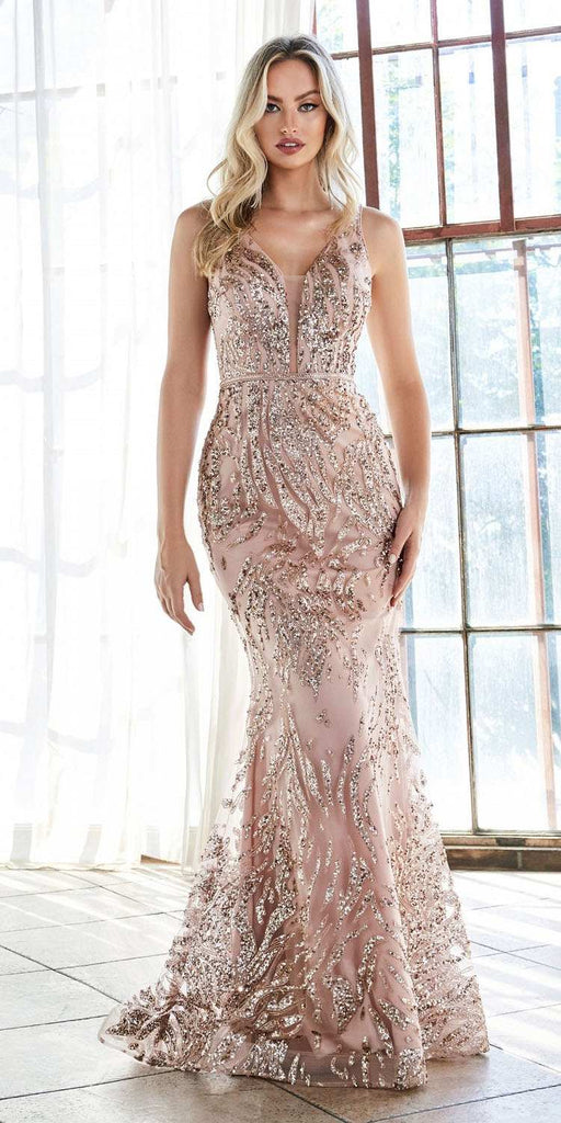 Cinderella Divine J9646 Long Slim Fit Sheath Gown Gold Glitter Print Pattern Deep V-Neckline