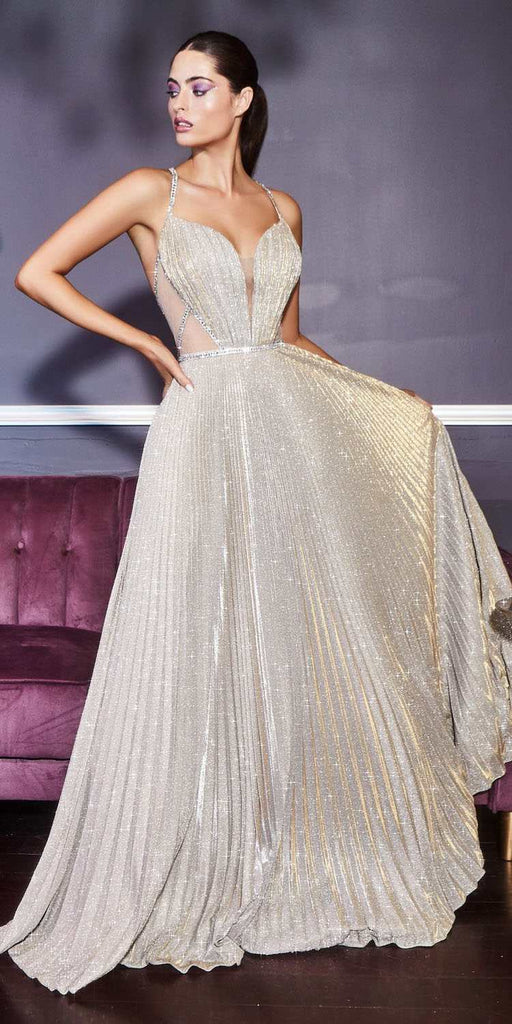 Cinderella Divine J9664 Long Pleated A-Line Gold Glitter Gown Beaded With Illusion Sides