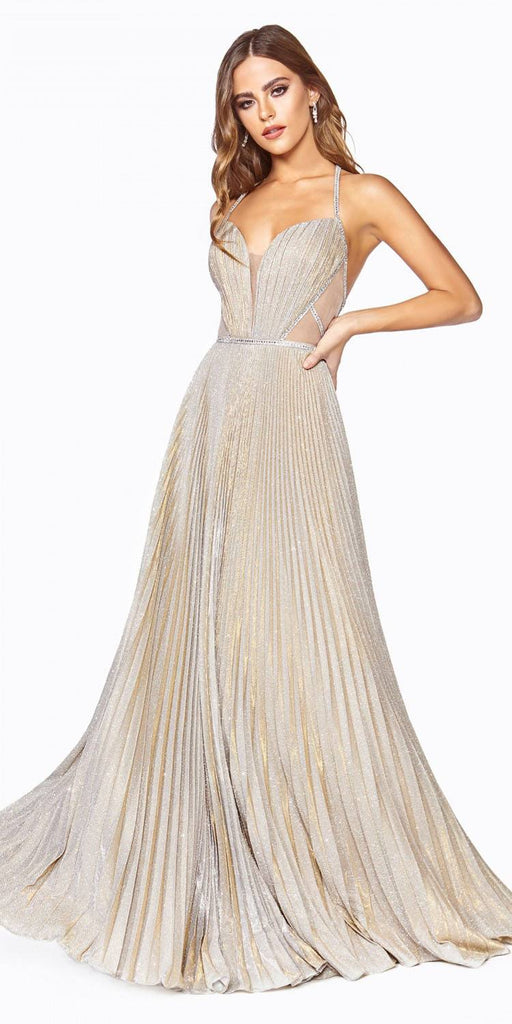 Cinderella Divine J9664 Long A-Line Metallic Glitter Gown Gold Beaded Open Back Pleated Skirt
