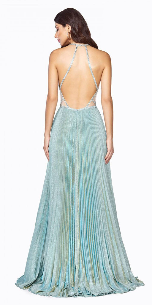 Cinderella Divine J9664 Long A-Line Metallic Glitter Gown Sea Mist Beaded Open Back Pleated Skirt