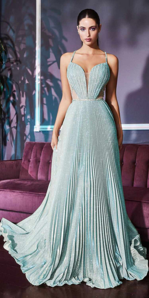 Cinderella Divine J9664 Long Pleated A-Line Sea Mist Glitter Gown Beaded With Illusion Sides