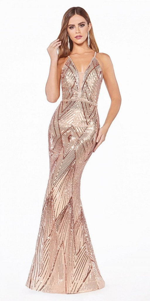 Cinderella Divine J9665 Long Fitted Mermaid Gown Rose Gold Art Deco Sequin Print Beaded Belt