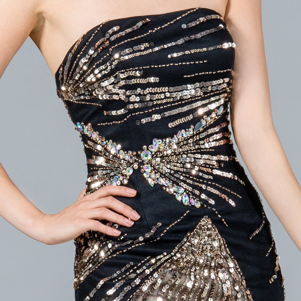 Cinderella Divine JC2411S Strapless Fitted Cocktail Dress Black/Gold With Sequin Detail