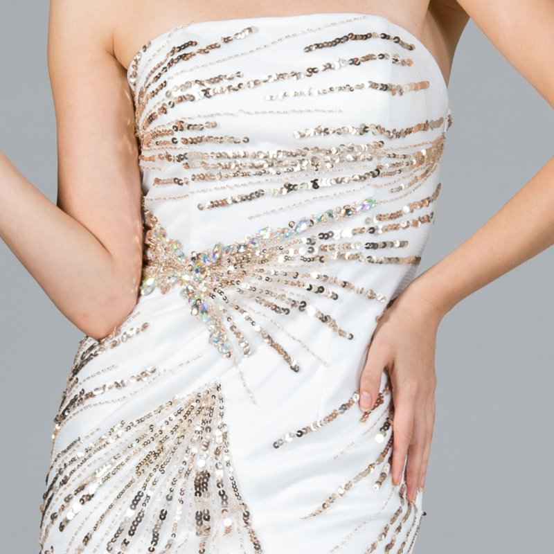 Strapless Fitted Cocktail Dress Off White/Gold With Sequin Detail